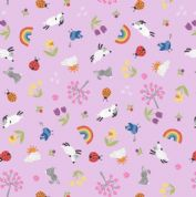 Lewis & Irene - Whatever The Weather - 6419 - Spring Motifs on Lilac - A374.2 - Cotton Fabric